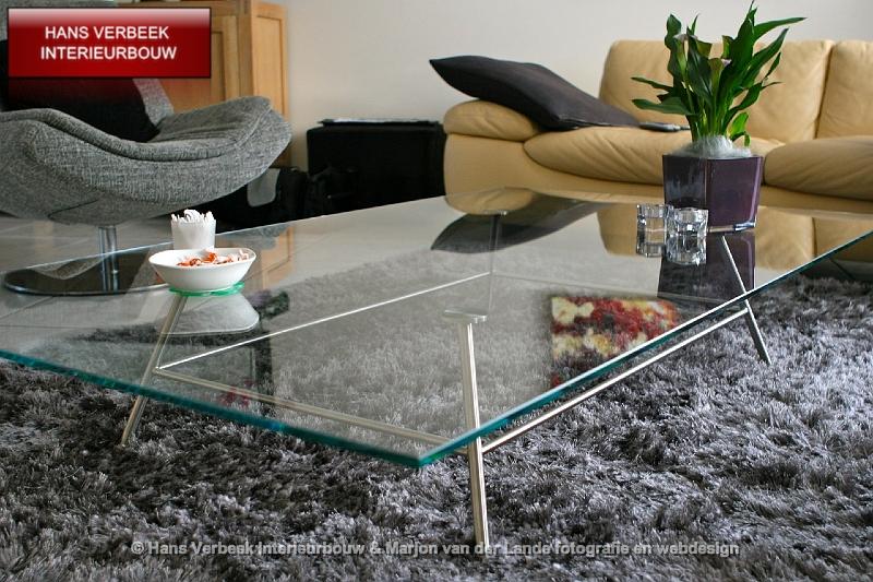 RVS meubels op maat salontafel eettafel glas eiken